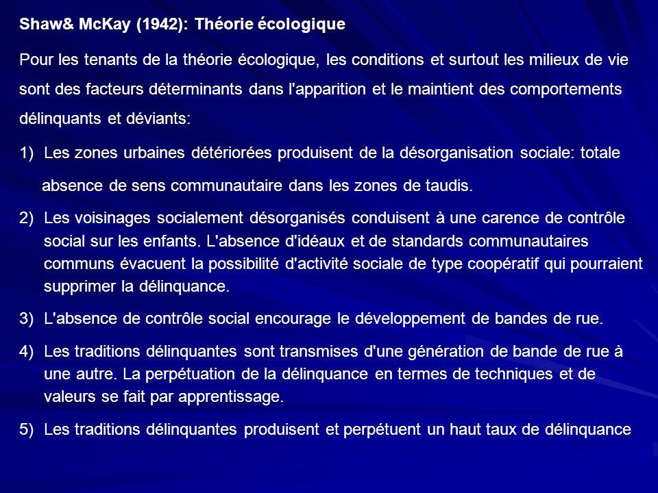 Shaw& McKay (1942): Théorie écologique Pour les tenants de la théorie écologique, les conditions et surtout les milieux de vie sont des facteurs déter