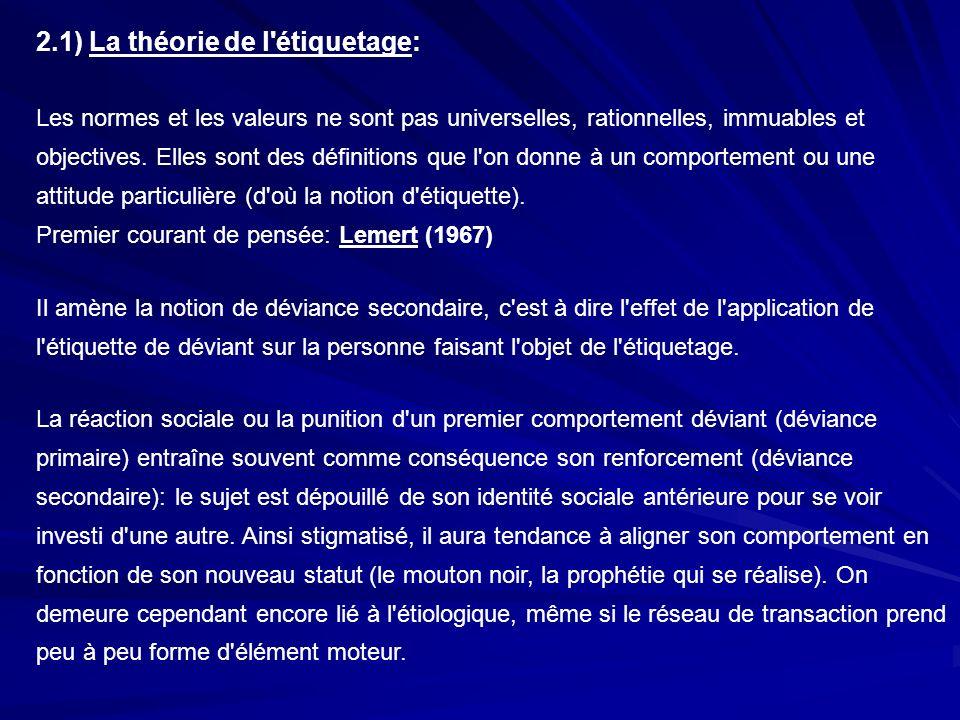 2.1) La théorie de l'étiquetage: Les normes et les valeurs ne sont pas universelles, rationnelles, immuables et objectives. Elles sont des définitions