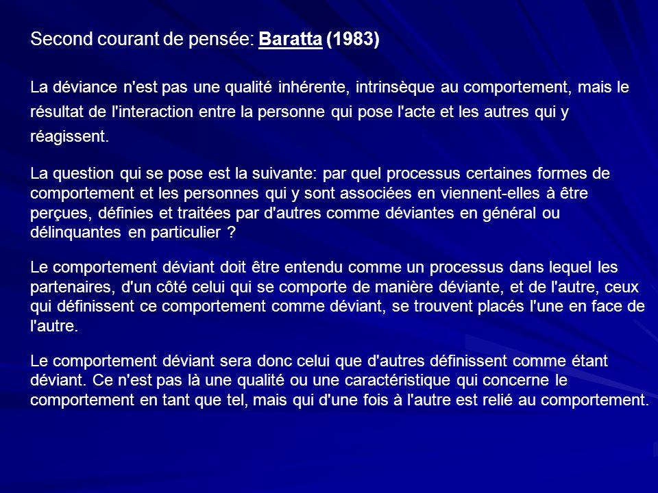Second courant de pensée: Baratta (1983) La déviance n'est pas une qualité inhérente, intrinsèque au comportement, mais le résultat de l'interaction e