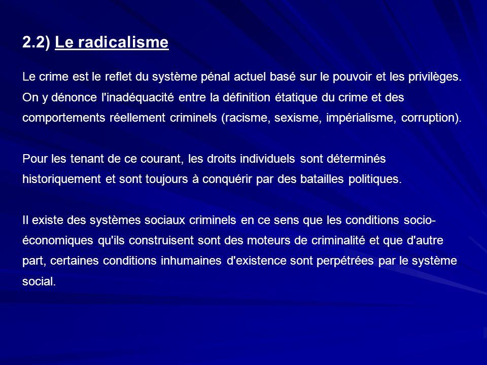 2.2) Le radicalisme Le crime est le reflet du système pénal actuel basé sur le pouvoir et les privilèges. On y dénonce l'inadéquacité entre la définit