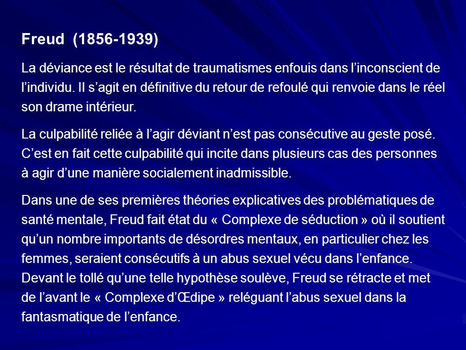 Freud (1856-1939) La déviance est le résultat de traumatismes enfouis dans linconscient de lindividu. Il sagit en définitive du retour de refoulé qui