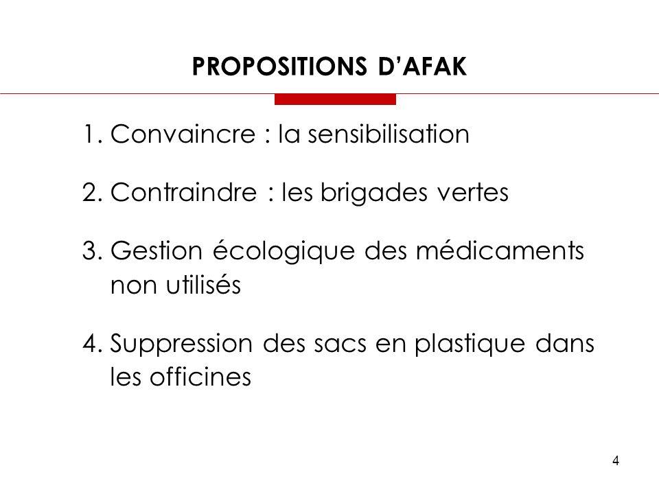 4 PROPOSITIONS DAFAK 1. Convaincre : la sensibilisation 2. Contraindre : les brigades vertes 3. Gestion écologique des médicaments non utilisés 4. Sup