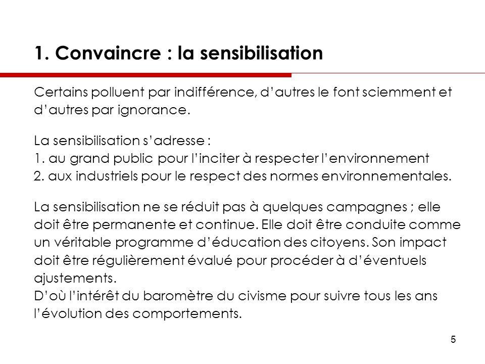 5 1. Convaincre : la sensibilisation Certains polluent par indifférence, dautres le font sciemment et dautres par ignorance. La sensibilisation sadres