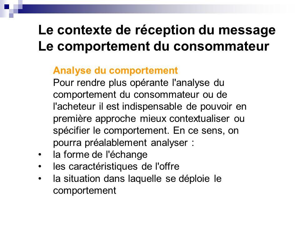 Le contexte de réception du message Le comportement du consommateur Analyse du comportement Pour rendre plus opérante l'analyse du comportement du con