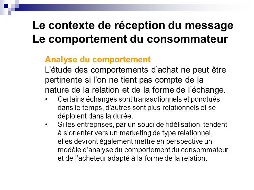 Le contexte de réception du message Le comportement du consommateur Analyse du comportement Létude des comportements dachat ne peut être pertinente si lon ne tient pas compte de la nature de la relation et de la forme de léchange.