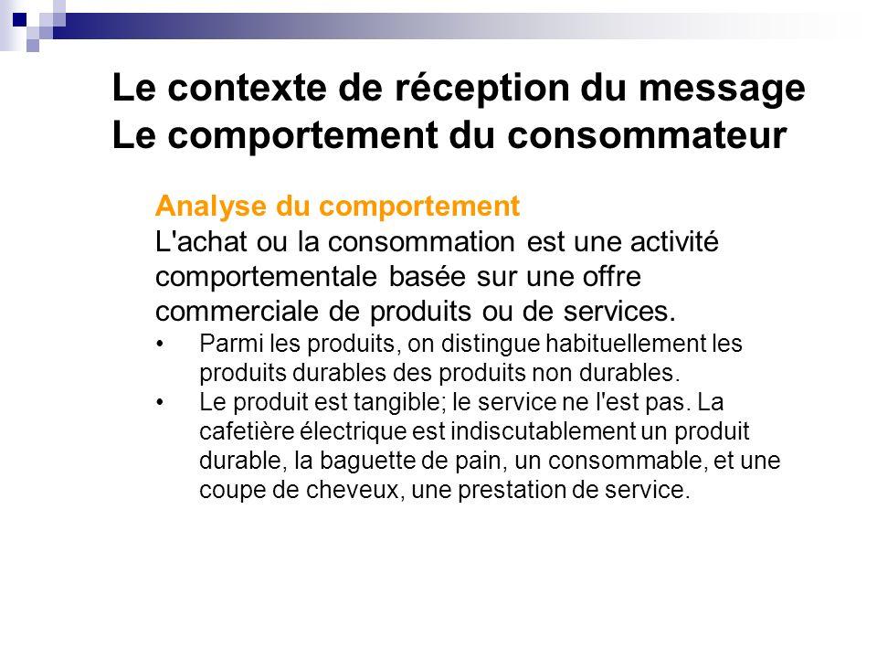 Le contexte de réception du message Le comportement du consommateur Analyse du comportement L achat ou la consommation est une activité comportementale basée sur une offre commerciale de produits ou de services.