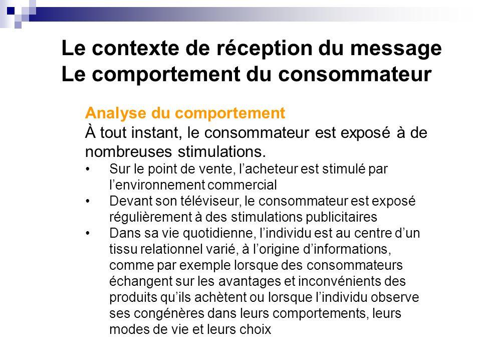 Le contexte de réception du message Le comportement du consommateur Analyse du comportement À tout instant, le consommateur est exposé à de nombreuses stimulations.
