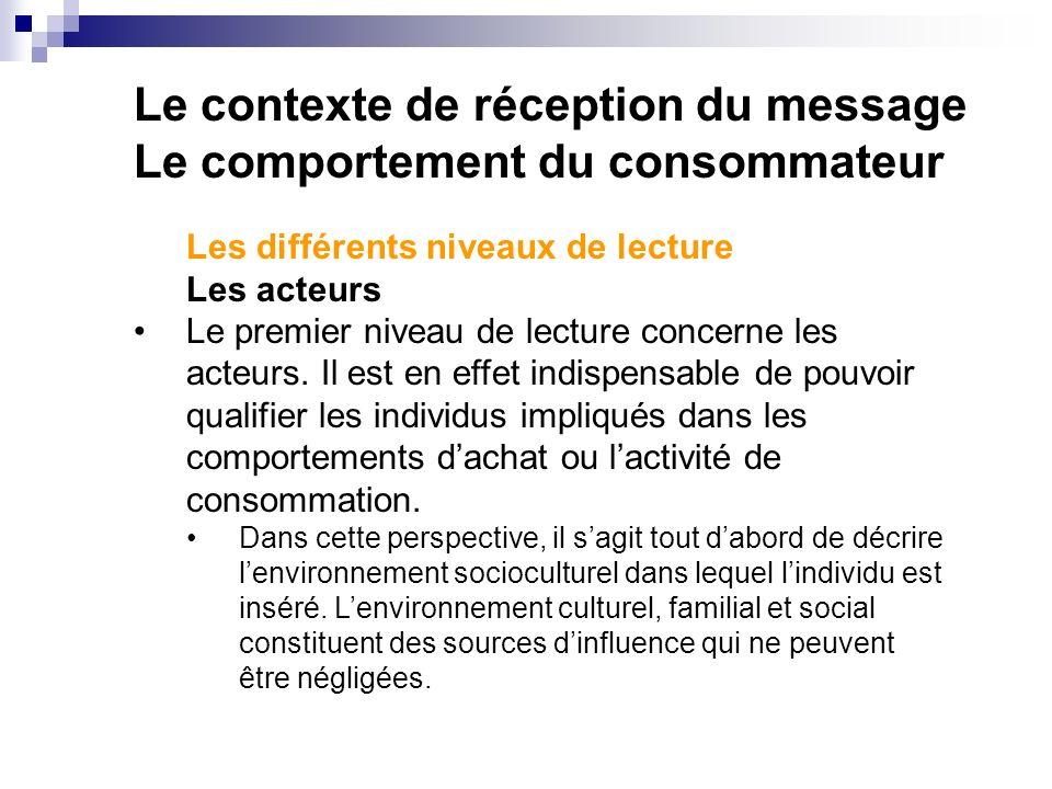 Le contexte de réception du message Le comportement du consommateur Les différents niveaux de lecture Les acteurs Le premier niveau de lecture concerne les acteurs.