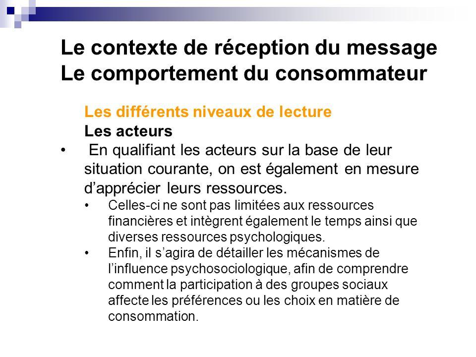 Le contexte de réception du message Le comportement du consommateur Les différents niveaux de lecture Les acteurs En qualifiant les acteurs sur la base de leur situation courante, on est également en mesure dapprécier leurs ressources.