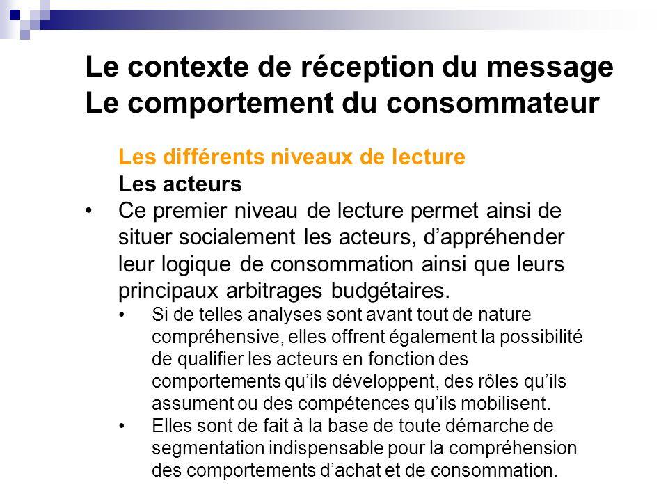 Le contexte de réception du message Le comportement du consommateur Les différents niveaux de lecture Les acteurs Ce premier niveau de lecture permet