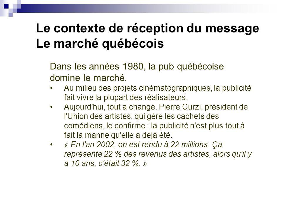 Le contexte de réception du message Le marché québécois Dans les années 1980, la pub québécoise domine le marché. Au milieu des projets cinématographi