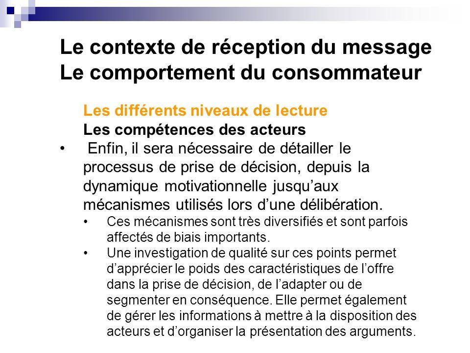 Le contexte de réception du message Le comportement du consommateur Les différents niveaux de lecture Les compétences des acteurs Enfin, il sera néces