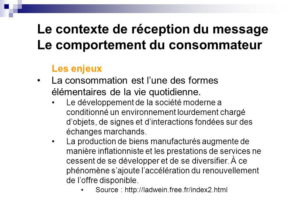 Le contexte de réception du message Le comportement du consommateur Les enjeux La consommation est lune des formes élémentaires de la vie quotidienne.