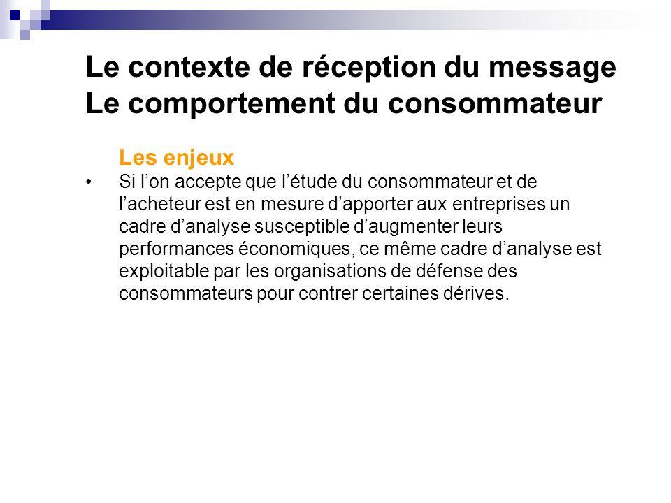 Le contexte de réception du message Le comportement du consommateur Les enjeux Si lon accepte que létude du consommateur et de lacheteur est en mesure