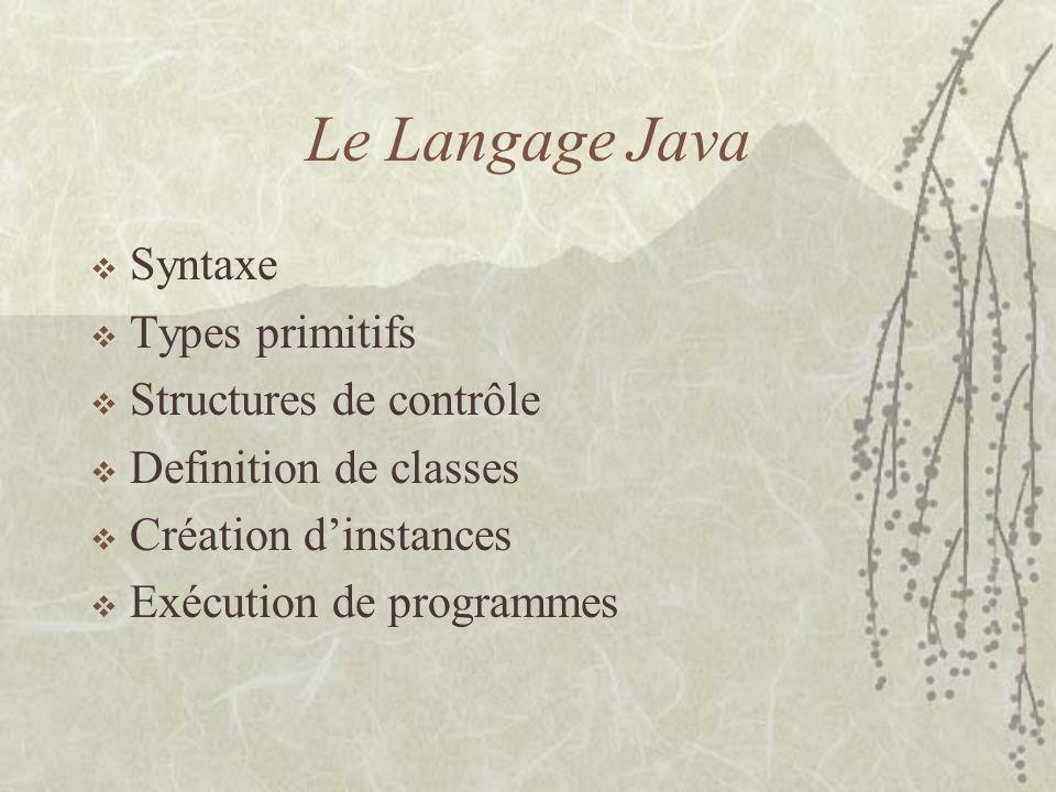 Le Langage Java Syntaxe Types primitifs Structures de contrôle Definition de classes Création dinstances Exécution de programmes