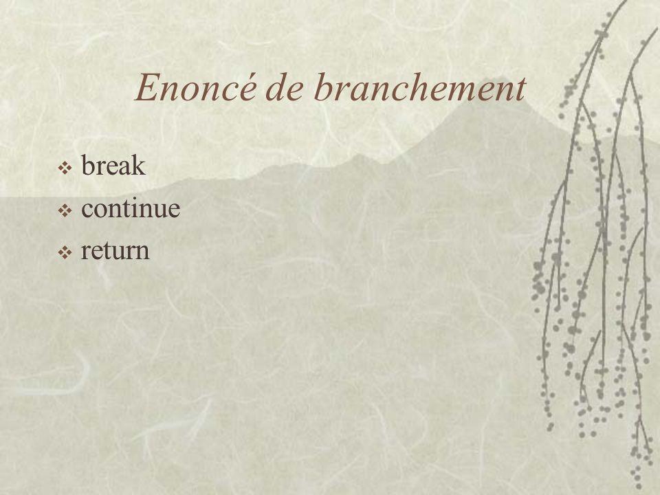 Enoncé de branchement break continue return