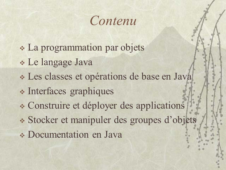 Éléments dun programme Java JDK / JRE –JDK 1.0 (inspiré de C++) –JDK 1.1 (inspiré de Smalltalk) –JDK 1.2 (Intégration de JFC (Swing, Collections), Security…) –JDK 1.3 (Optimization…) –JDK 1.4 (Libraires…) –JDK 1.5 (contrôle et gestion de la JVM, performance, look and feel…) Code Java –Packages –Fichiers:.java,.class,.jar,.manifest –Autres ressources:.properties –Classpath Compilation dun programme Java Exécution dun programme Java –Stand-alone –browsers