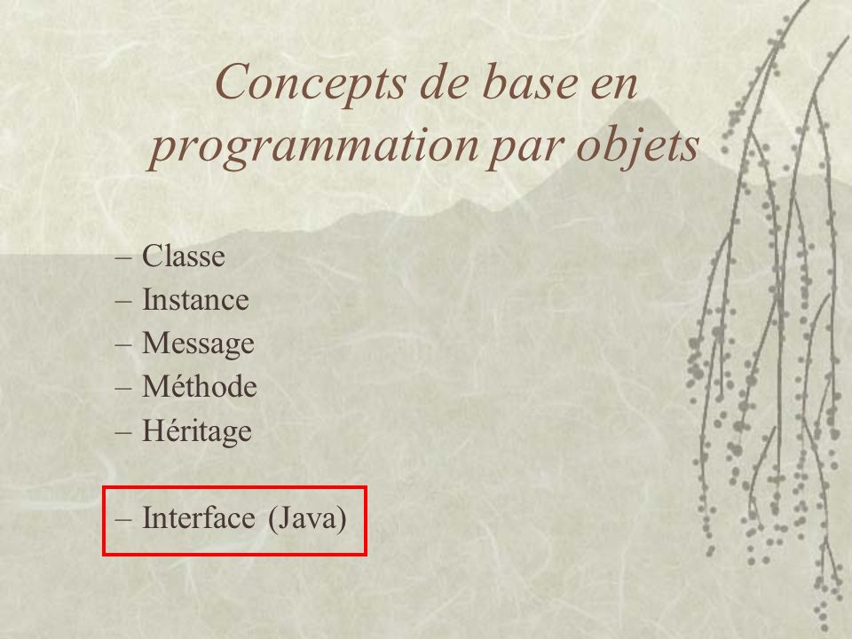 Classe Comportement dune classe –Création des objects (instance) –java.lang.Class Une classe est un moule –Structure de létat de ses instance –Comportement de ses instances Point.class State int x int y Methods getX setX(int newX) getY setY(int newY) toString()
