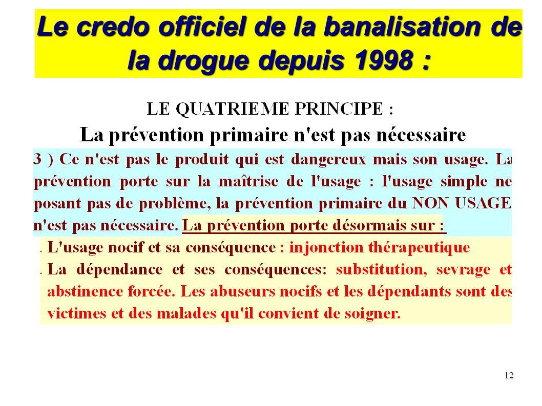 12 Le credo officiel de la banalisation de la drogue depuis 1998 :