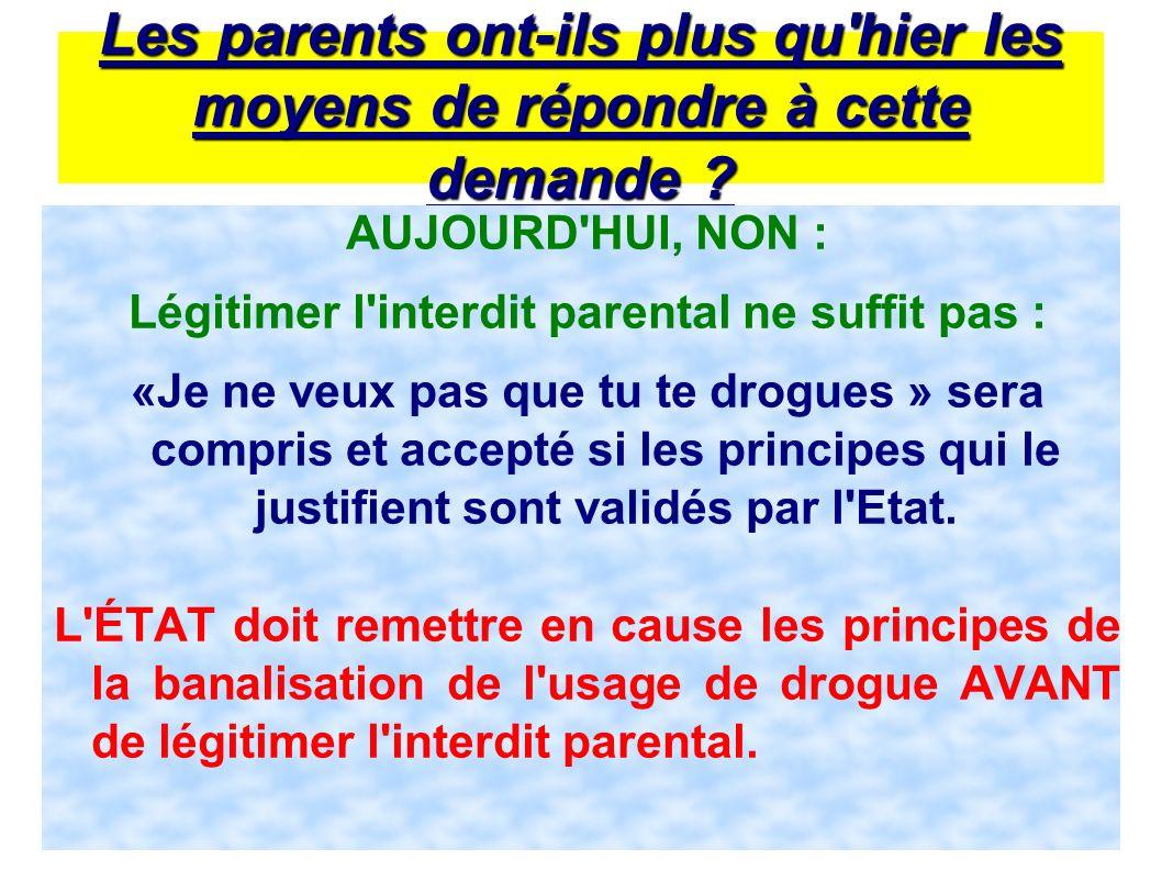 13 Les parents ont-ils plus qu'hier les moyens de répondre à cette demande ? AUJOURD'HUI, NON : Légitimer l'interdit parental ne suffit pas : «Je ne v