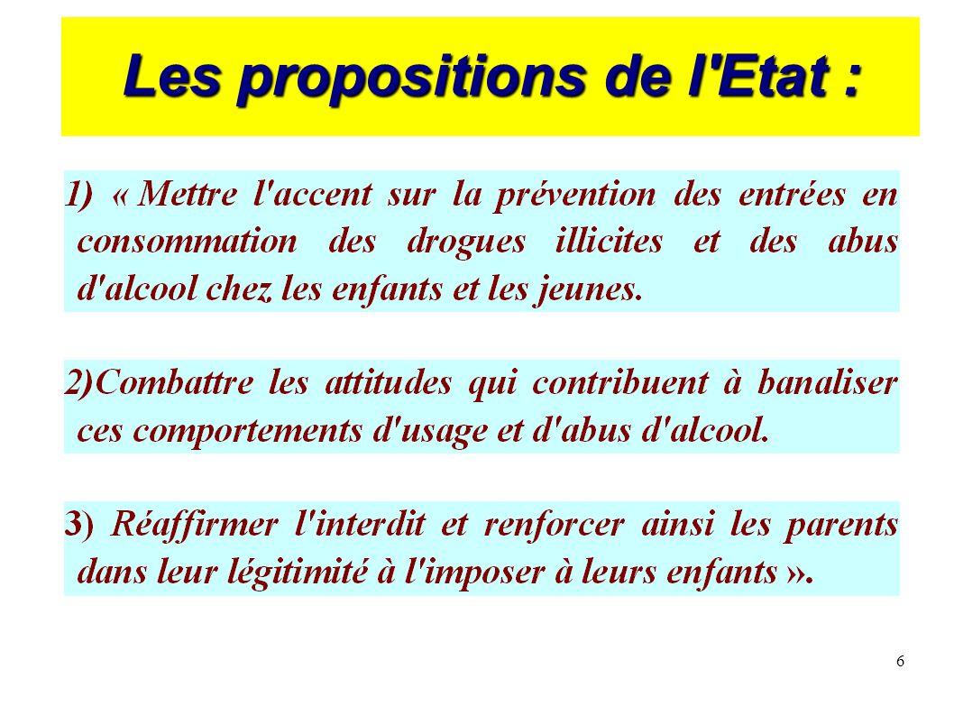 6 Les propositions de l'Etat :