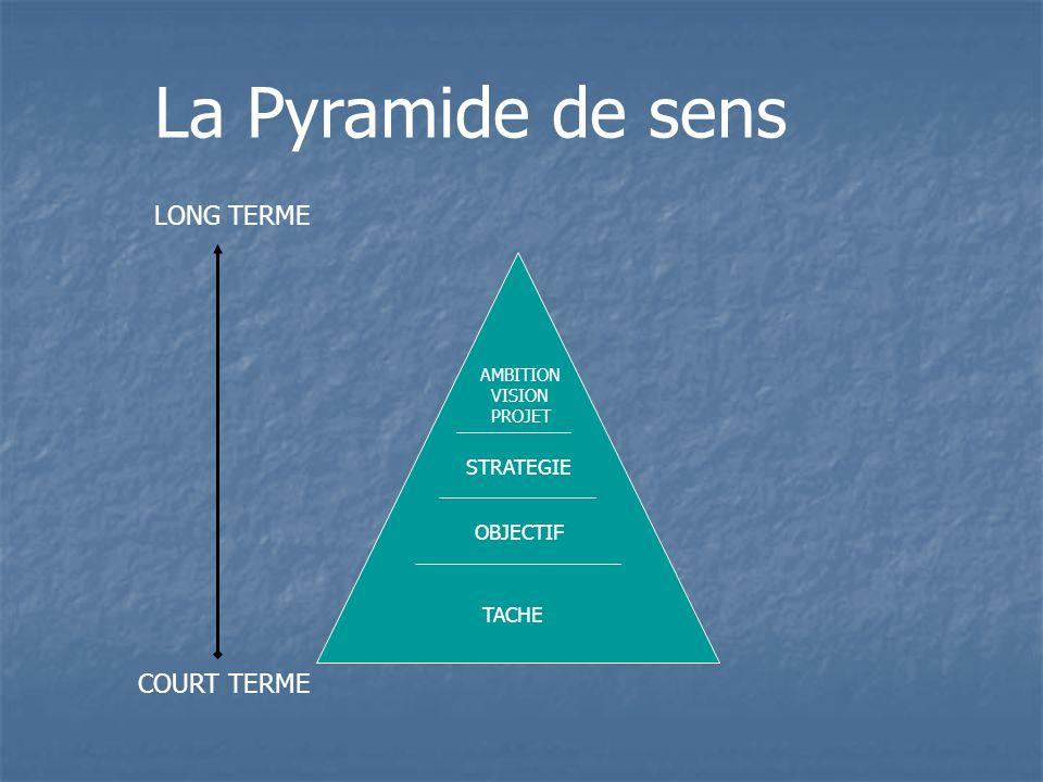 COURT TERME La Pyramide de sens LONG TERME OBJECTIF TACHE STRATEGIE AMBITION VISION PROJET