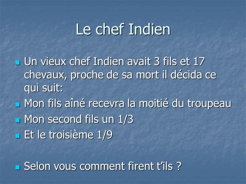 Le chef Indien Un vieux chef Indien avait 3 fils et 17 chevaux, proche de sa mort il décida ce qui suit: Un vieux chef Indien avait 3 fils et 17 cheva