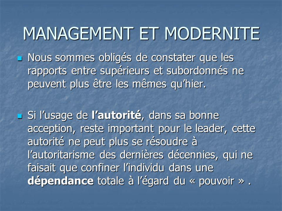 Cette autorité nest plus un moyen, elle devient le résultat du management contemporain, qui donne à son praticien sa légitimité fonctionnelle, statutaire et personnelle.