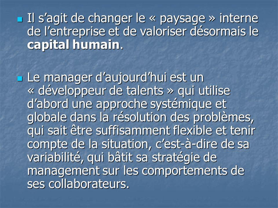 Il sagit de changer le « paysage » interne de lentreprise et de valoriser désormais le capital humain. Il sagit de changer le « paysage » interne de l
