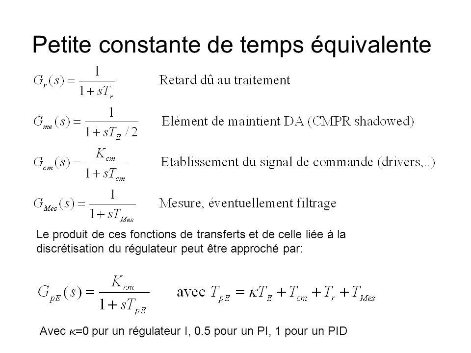 Petite constante de temps équivalente Le produit de ces fonctions de transferts et de celle liée à la discrétisation du régulateur peut être approché par: Avec 0 pur un régulateur I, 0.5 pour un PI, 1 pour un PID