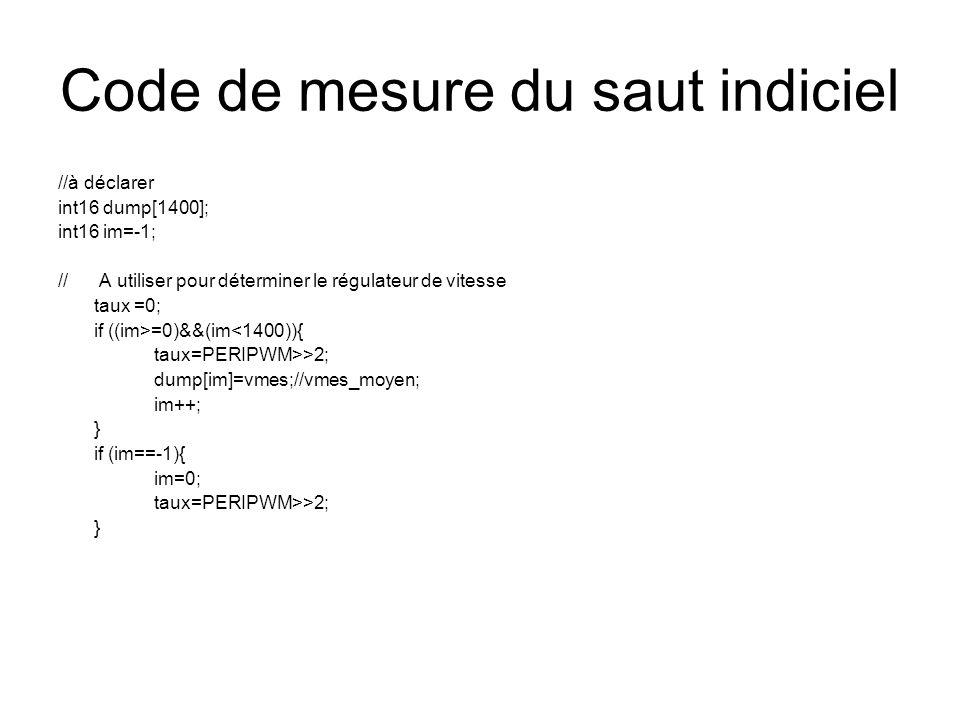 Code de mesure du saut indiciel //à déclarer int16 dump[1400]; int16 im=-1; // A utiliser pour déterminer le régulateur de vitesse taux =0; if ((im>=0)&&(im<1400)){ taux=PERIPWM>>2; dump[im]=vmes;//vmes_moyen; im++; } if (im==-1){ im=0; taux=PERIPWM>>2; }
