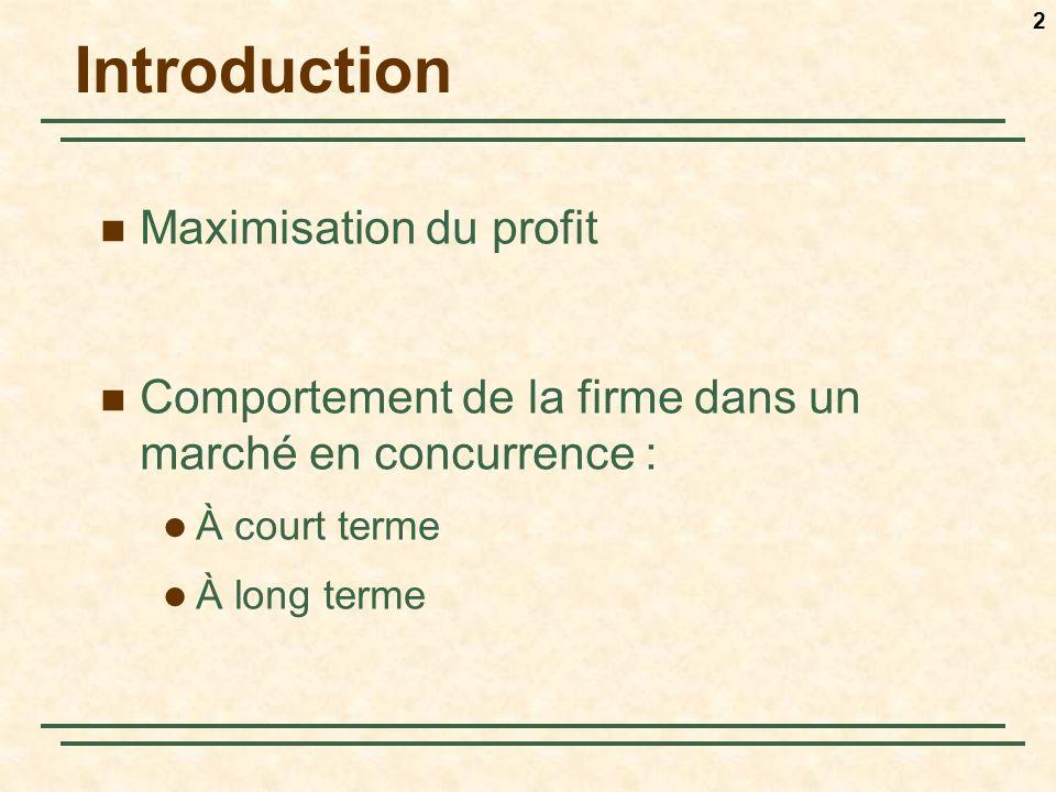 3 Maximisation du profit π(q) = R(q) – CT(q) 2 étapes : Quelle est la quantité, q*, qui maximise les profits (minimise les pertes) .