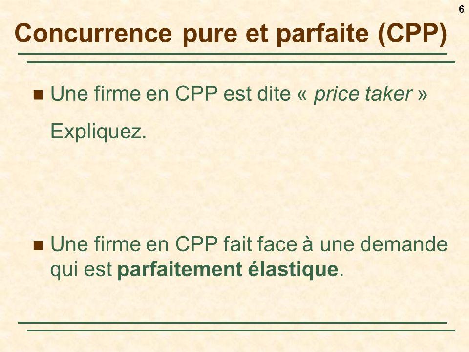 6 Concurrence pure et parfaite (CPP) Une firme en CPP est dite « price taker » Expliquez. Une firme en CPP fait face à une demande qui est parfaitemen