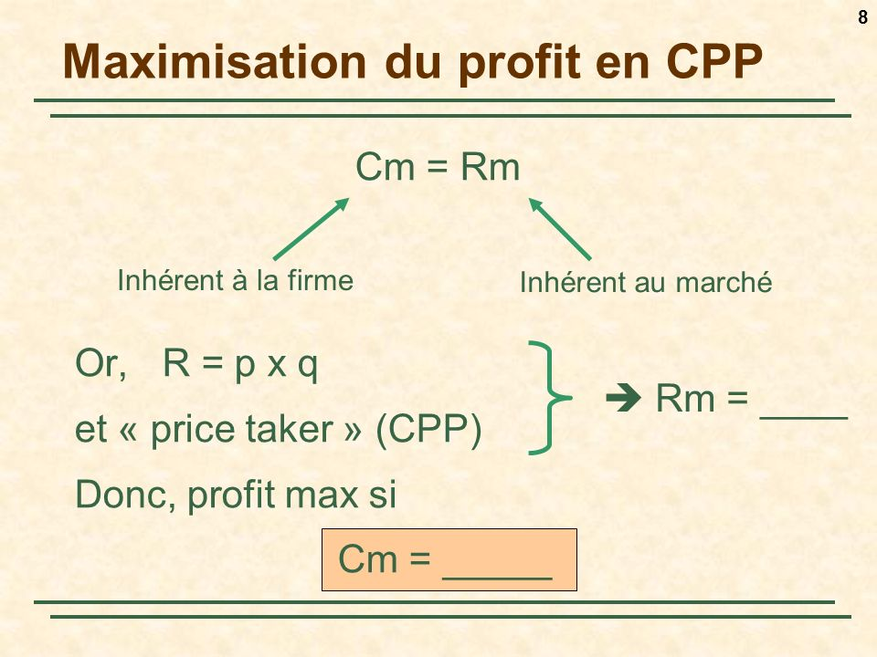 8 Maximisation du profit en CPP Cm = Rm Or, R = p x q et « price taker » (CPP) Donc, profit max si Cm = _____ Inhérent à la firme Inhérent au marché R