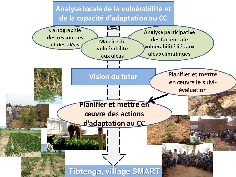 Tibtenga, village SMART Analyse locale de la vulnérabilité et de la capacité dadaptation au CC Cartographie des ressources et des aléas Analyse participative des facteurs de vulnérabilité liés aux aléas climatiques Vision du futur Matrice de vulnérabilité aux aléas Planifier et mettre en œuvre des actions dadaptation au CC