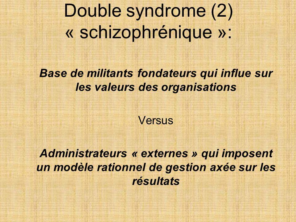 Double syndrome (2) « schizophrénique »: Base de militants fondateurs qui influe sur les valeurs des organisations Versus Administrateurs « externes »