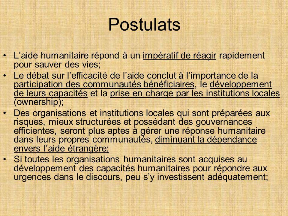 Postulats Laide humanitaire répond à un impératif de réagir rapidement pour sauver des vies; Le débat sur lefficacité de laide conclut à limportance d