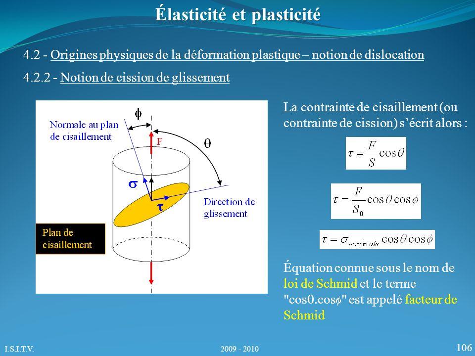 106 Élasticité et plasticité La contrainte de cisaillement (ou contrainte de cission) sécrit alors : Équation connue sous le nom de loi de Schmid et le terme cos cos est appelé facteur de Schmid 4.2.2 - Notion de cission de glissement 4.2 - Origines physiques de la déformation plastique – notion de dislocation I.S.I.T.V.