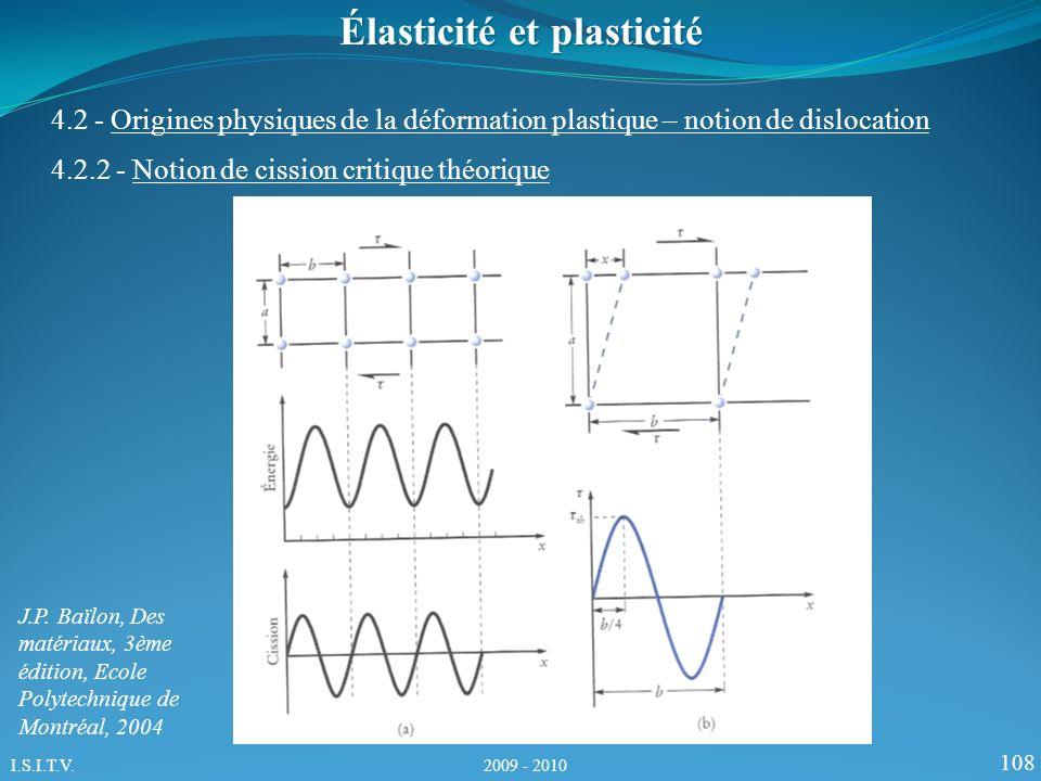 108 Élasticité et plasticité 4.2.2 - Notion de cission critique théorique 4.2 - Origines physiques de la déformation plastique – notion de dislocation J.P.