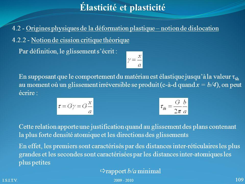 109 Élasticité et plasticité 4.2.2 - Notion de cission critique théorique 4.2 - Origines physiques de la déformation plastique – notion de dislocation Par définition, le glissement sécrit : En supposant que le comportement du matériau est élastique jusquà la valeur th au moment où un glissement irréversible se produit (c-à-d quand x = b/4), on peut écrire : Cette relation apporte une justification quand au glissement des plans contenant la plus forte densité atomique et les directions des glissements En effet, les premiers sont caractérisés par des distances inter-réticulaires les plus grandes et les secondes sont caractérisées par les distances inter-atomiques les plus petites rapport b/a minimal I.S.I.T.V.