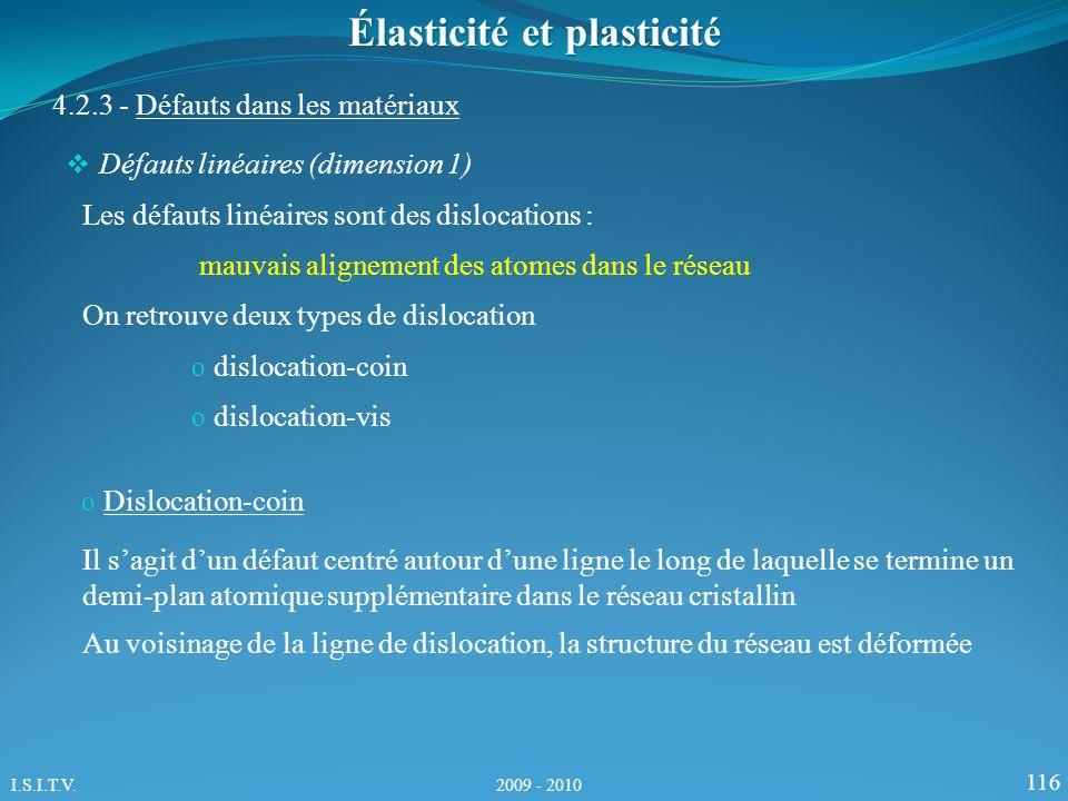 116 Élasticité et plasticité 4.2.3 - Défauts dans les matériaux Les défauts linéaires sont des dislocations : mauvais alignement des atomes dans le ré