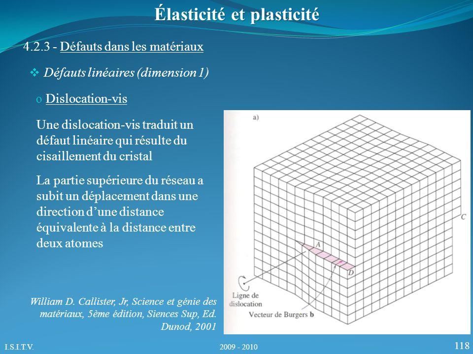 118 Élasticité et plasticité 4.2.3 - Défauts dans les matériaux Défauts linéaires (dimension 1) o Dislocation-vis Une dislocation-vis traduit un défaut linéaire qui résulte du cisaillement du cristal La partie supérieure du réseau a subit un déplacement dans une direction dune distance équivalente à la distance entre deux atomes William D.