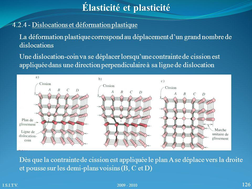 126 Élasticité et plasticité 4.2.4 - Dislocations et déformation plastique La déformation plastique correspond au déplacement dun grand nombre de dislocations Une dislocation-coin va se déplacer lorsquune contrainte de cission est appliquée dans une direction perpendiculaire à sa ligne de dislocation Dès que la contrainte de cission est appliquée le plan A se déplace vers la droite et pousse sur les demi-plans voisins (B, C et D) I.S.I.T.V.