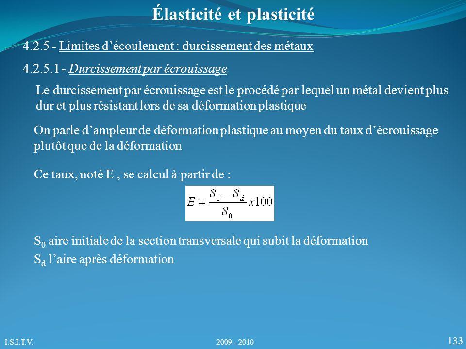 133 Élasticité et plasticité 4.2.5 - Limites découlement : durcissement des métaux 4.2.5.1 - Durcissement par écrouissage Le durcissement par écrouissage est le procédé par lequel un métal devient plus dur et plus résistant lors de sa déformation plastique On parle dampleur de déformation plastique au moyen du taux décrouissage plutôt que de la déformation Ce taux, noté E, se calcul à partir de : S 0 aire initiale de la section transversale qui subit la déformation S d laire après déformation I.S.I.T.V.