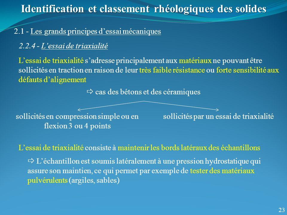 23 Identification et classement rhéologiques des solides 2.1 - Les grands principes dessai mécaniques 2.2.4 - Lessai de triaxialité Lessai de triaxial