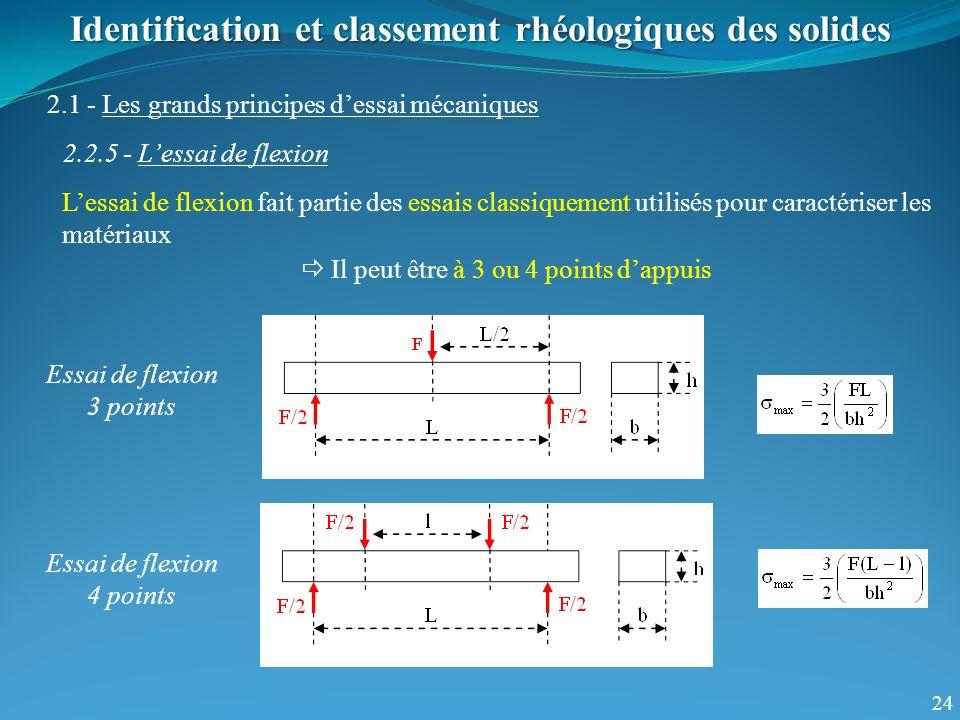 24 Identification et classement rhéologiques des solides 2.1 - Les grands principes dessai mécaniques 2.2.5 - Lessai de flexion Lessai de flexion fait