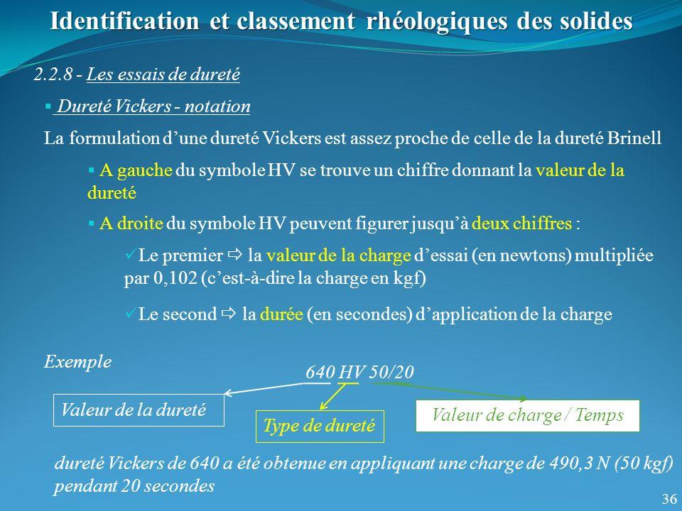 36 Identification et classement rhéologiques des solides 2.2.8 - Les essais de dureté Dureté Vickers - notation La formulation dune dureté Vickers est