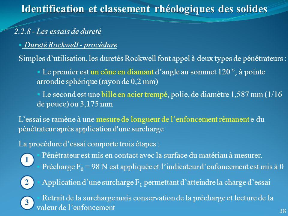 38 Identification et classement rhéologiques des solides 2.2.8 - Les essais de dureté Dureté Rockwell - procédure Simples dutilisation, les duretés Ro