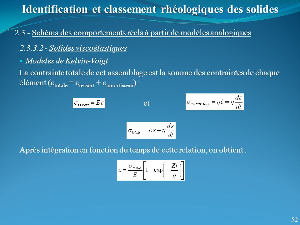 52 Identification et classement rhéologiques des solides 2.3 - Schéma des comportements réels à partir de modèles analogiques 2.3.3.2 - Solides viscoélastiques Modèles de Kelvin-Voigt La contrainte totale de cet assemblage est la somme des contraintes de chaque élément ( totale = ressort + amortisseur ) : et Après intégration en fonction du temps de cette relation, on obtient :