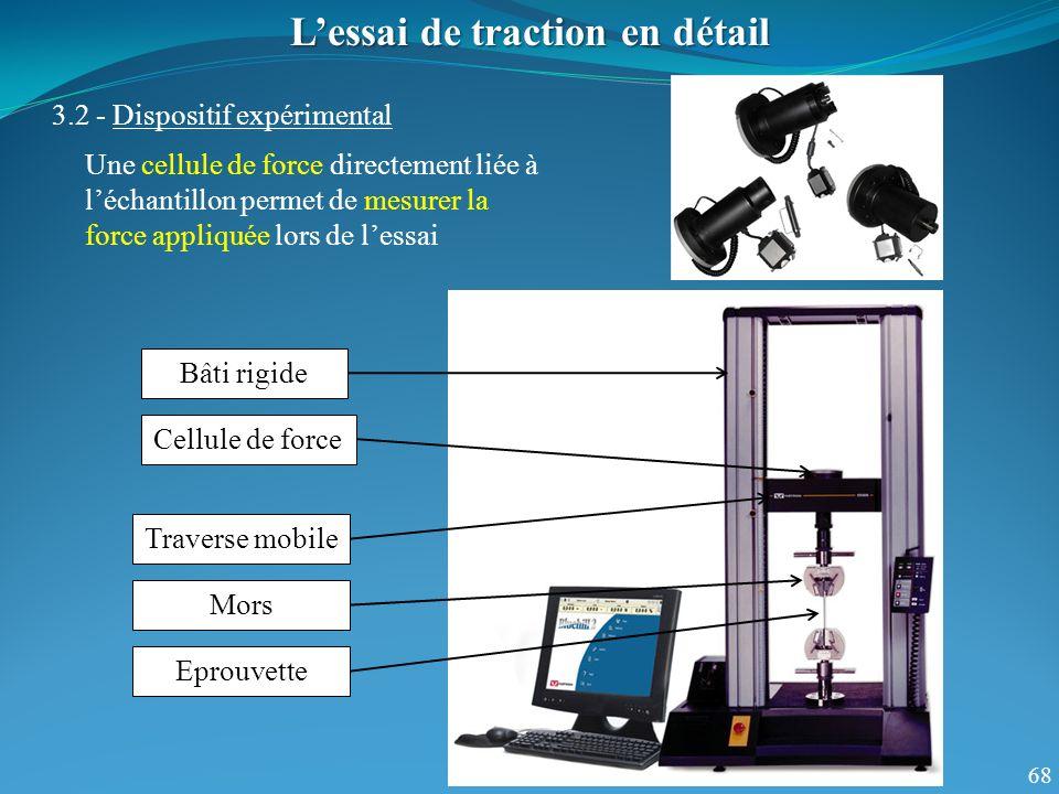 68 Lessai de traction en détail 3.2 - Dispositif expérimental Une cellule de force directement liée à léchantillon permet de mesurer la force appliqué